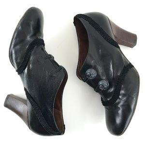 Naya Leather Heels Velvet Button Trim 10M Anthro